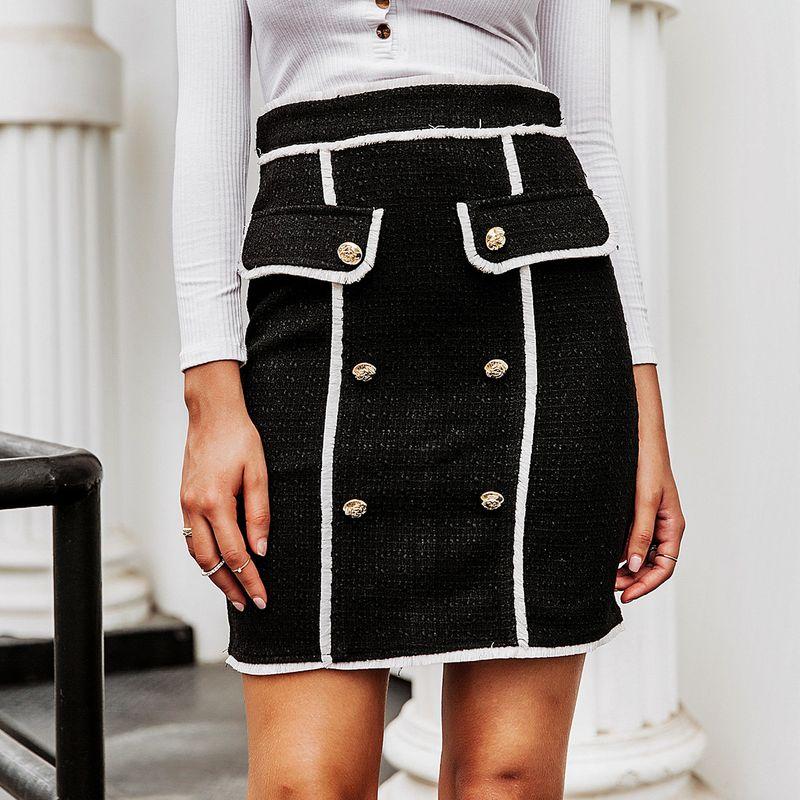 Black sweet tweed skirt wholesale women's clothes NHDE191433