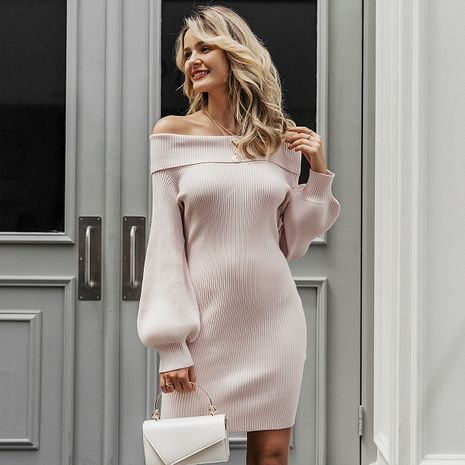 Light pink word shoulder sexy dress wholesale women's clothes NHDE191436's discount tags