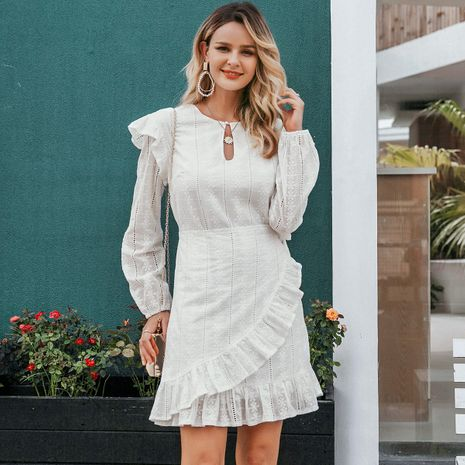 White cotton embroidered dress wholesale women's clothes NHDE191437's discount tags