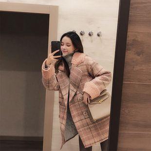 Pink plaid coat wholesale women's clothes NHMI191445's discount tags