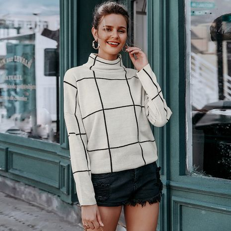 Black and white plaid sweater wholesale women's clothes NHDE191476's discount tags
