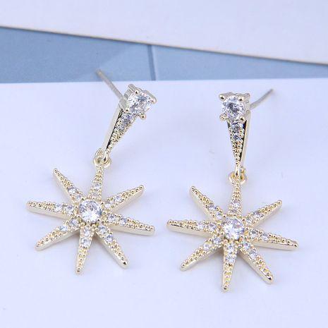 925 Silver Korean Fashion Sweet OL Copper Inlaid Zircon Sun Flower Ear Studs NHSC191711's discount tags