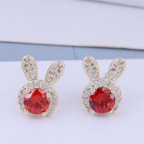 925 Silver Korean Fashion Sweet OL Copper Inlaid Zircon Rabbit Ear Studs NHSC191710's discount tags