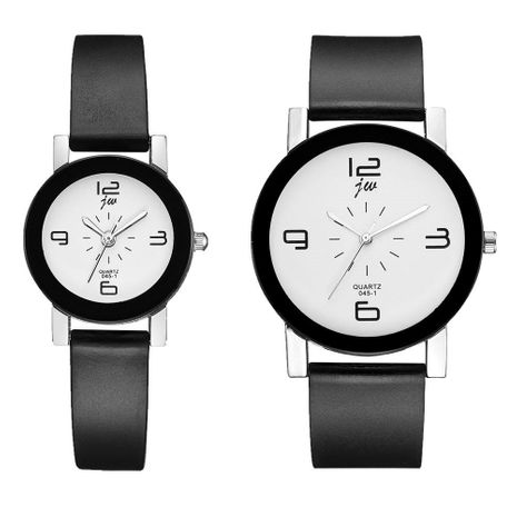 Korean couple pair table fashion student couple watch simple black shell black belt quartz hand watch NHSY193620's discount tags
