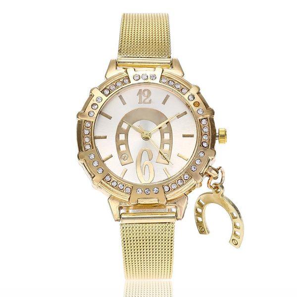 Women's Korean Fashion Pendant Gold Mesh Watch with Diamonds NHSY193625