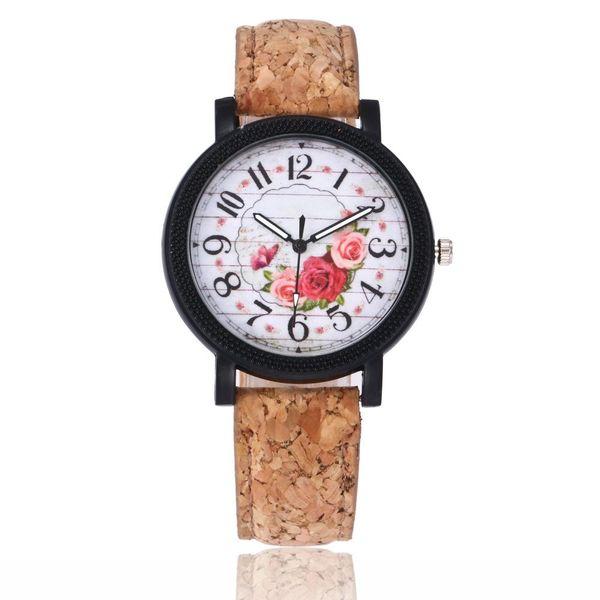 Student men's and women's watch retro wood grain belt watch NHSY193626