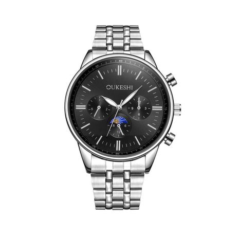 New Fashion Men's Six-pin Steel Band Watch Waterproof Silver Steel Band Quartz Watch Wholesale NHSY193629's discount tags