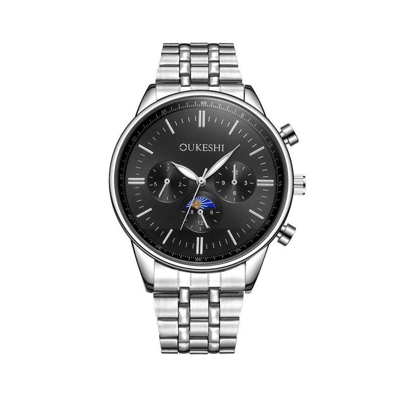 New Fashion Men's Six-pin Steel Band Watch Waterproof Silver Steel Band Quartz Watch Wholesale NHSY193629