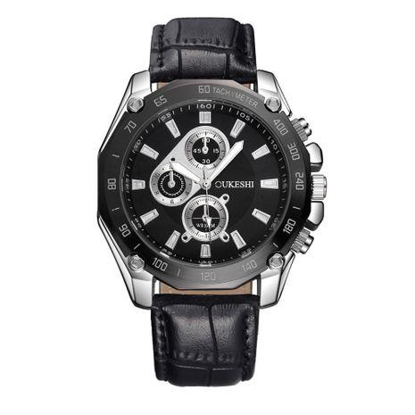 Three Eyes Belt Men's Watch High-end Large Dial Black Case Waterproof Quartz Watch Men NHSY193631's discount tags