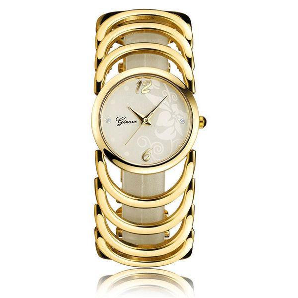 Ladies Bracelet Watch Gold Stainless Steel Quartz Print Fashion Watch Fashion Women's Watch NHSY193638