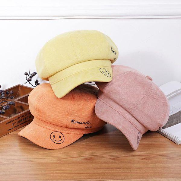 Korean new hat brim embroidered corduroy octagonal hat NHXB193713