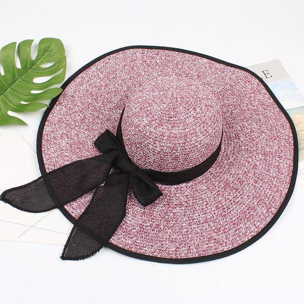 Korean version of big brim hat summer ladies folding beach straw hat NHXO193741