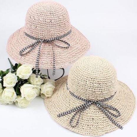 Hat ladies handmade sun hat houndstooth bow ribbon big eaves beach sun hat NHXO193742's discount tags