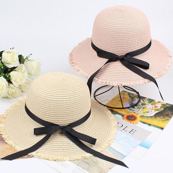 New sun hat female sunscreen edging bow fisherman hat NHXO193748