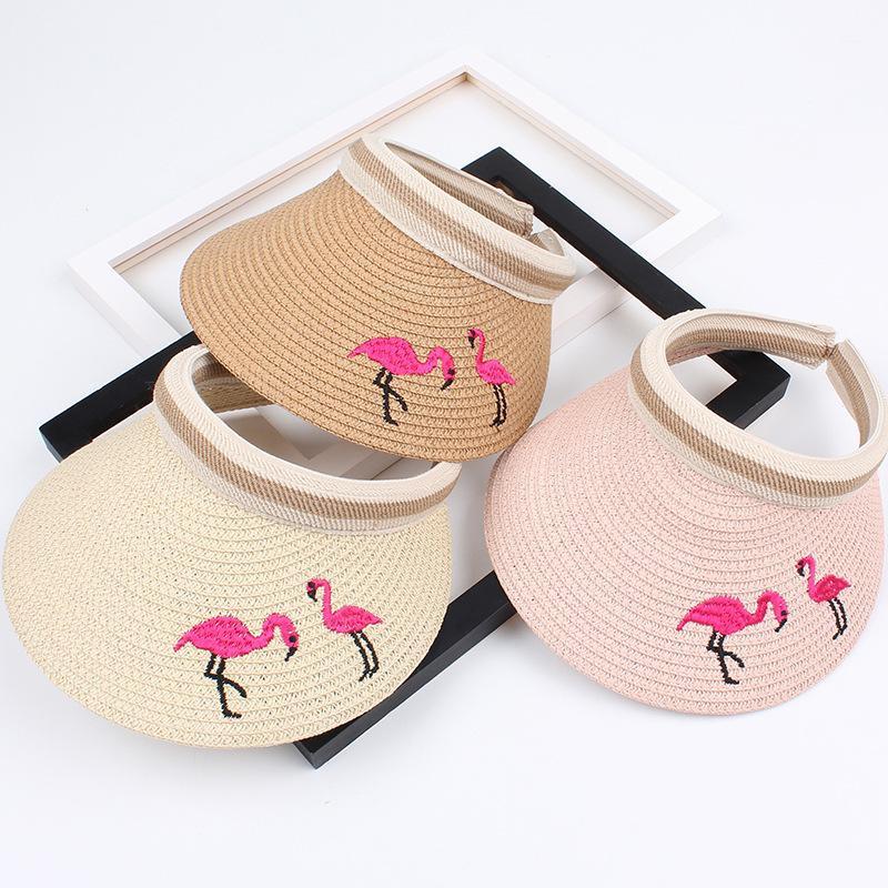 Summer children's straw hat embroidery flamingo empty top hat NHXO193749