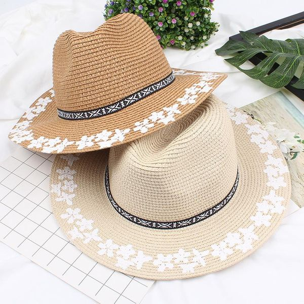 Women's printed straw hat NHXO193752