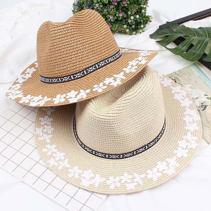 Women's printed straw hat NHXO193752