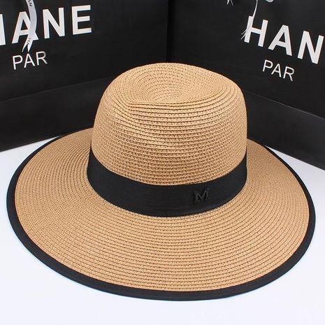 Jazz hat sun protection large coastal beach sun hat straw straw hat NHXO193755's discount tags