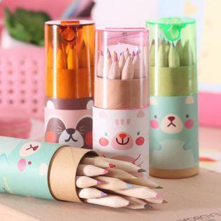 Mini bolígrafo lindo de dibujo a lápiz pequeño de 12 ositos NHZE193788