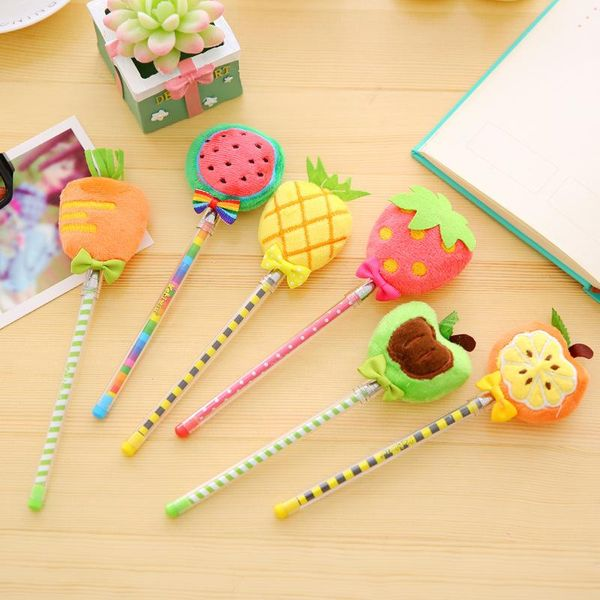 Stationery cute small fresh fruit ball pen needle type cute plush pen NHZE193816