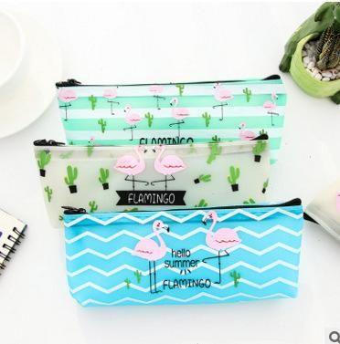 Simple cute flamingo PU pencil bag zipper large capacity stationery bag NHZE193827