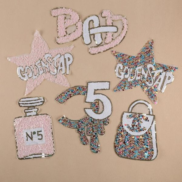 Sequin Embroidery Patch Wholesale Clothing Accessories Patch Patch Peacock Sequin Letter Five Star Cloth Patch NHDX193847