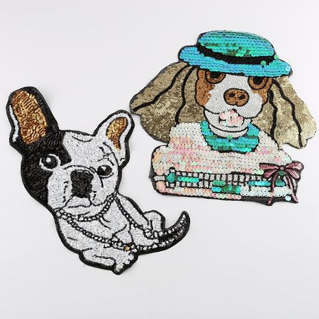Sequin embroidery cloth stickers cartoon animals dogs high-end clothing accessories oversized patch sequin stickers NHDX193853's discount tags