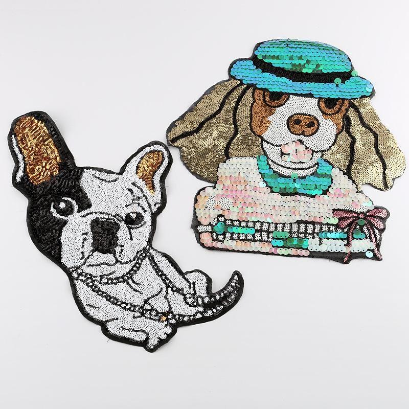 Pegatinas de tela con bordado de lentejuelas animales de dibujos animados perros accesorios de ropa de alta gama pegatinas de lentejuelas con parche de gran tamaño NHDX193853