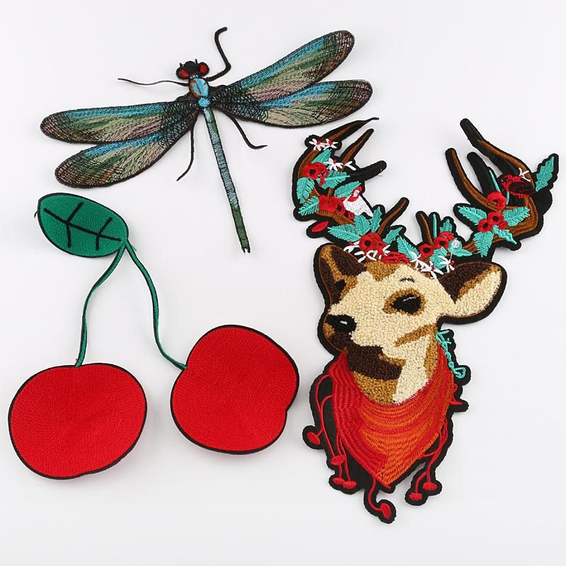 Duo embroidery cloth stickers dragonfly towel embroidered deer cherry clothing accessories large patch bag accessories NHDX193854