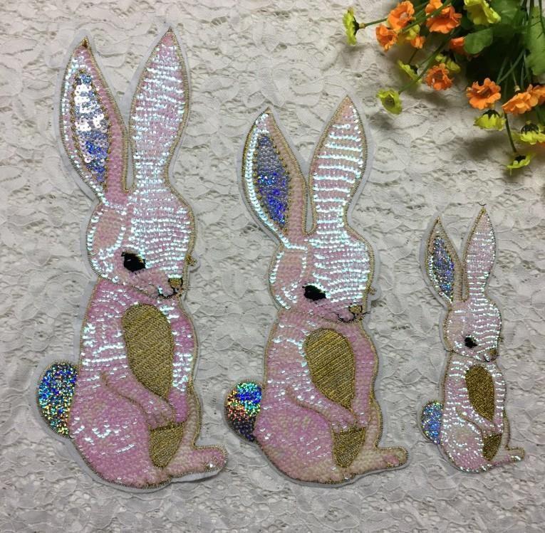 Long ears big rabbit head patch cloth sticker DIY decorative patch cartoon beads embroidery chapter NHLT193859