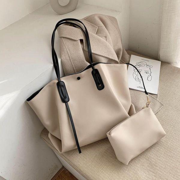 Large capacity women's bag simple solid color embroidered big bag shoulder NHLD193969