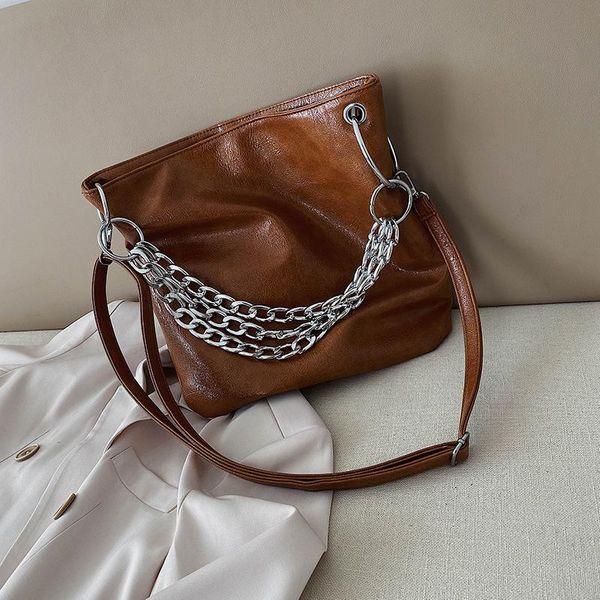 Hand-held solid color women's big bag women's shoulder Messenger bag NHLD193981