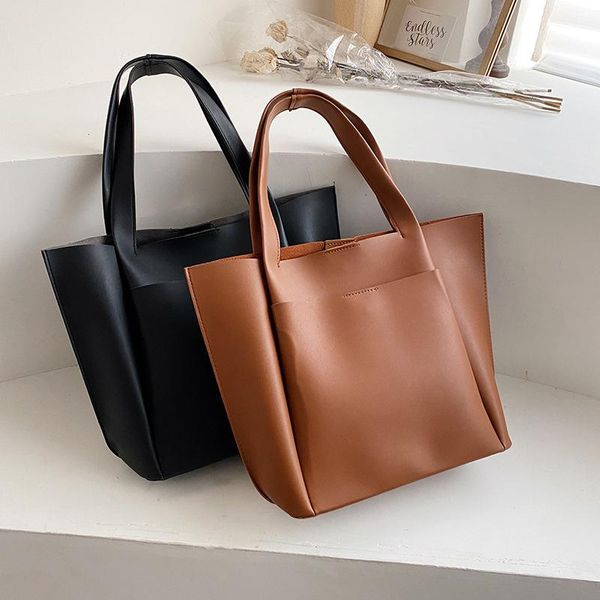 Niche high-capacity women's bags new tote bags women's fashion tide winter small fresh solid color women's bags NHLD193994