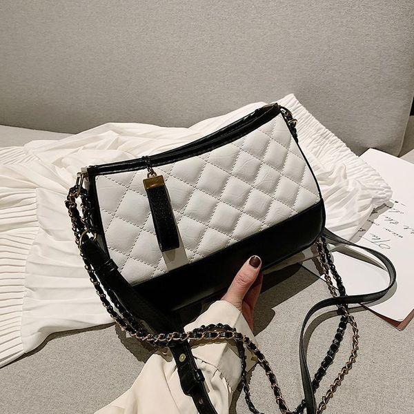 Winter women's bag women's single shoulder temperament plaid zipper small square bag crossbody bag NHLD194000