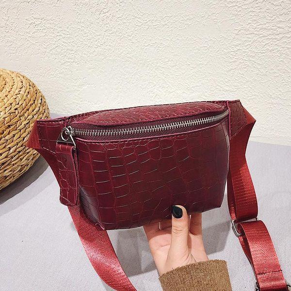 Crocodile pattern small waist bag women's new Korean version of the single shoulder diagonal bag NHLD194017