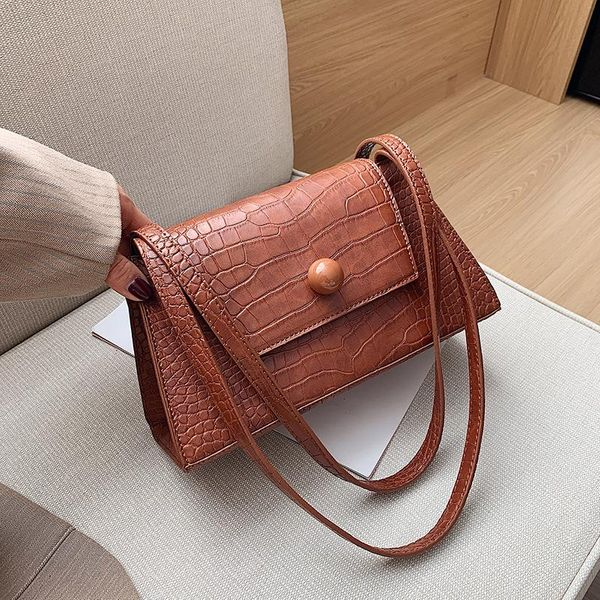 Women's bag wild solid color magnetic buckle retro women's bag NHLD194064