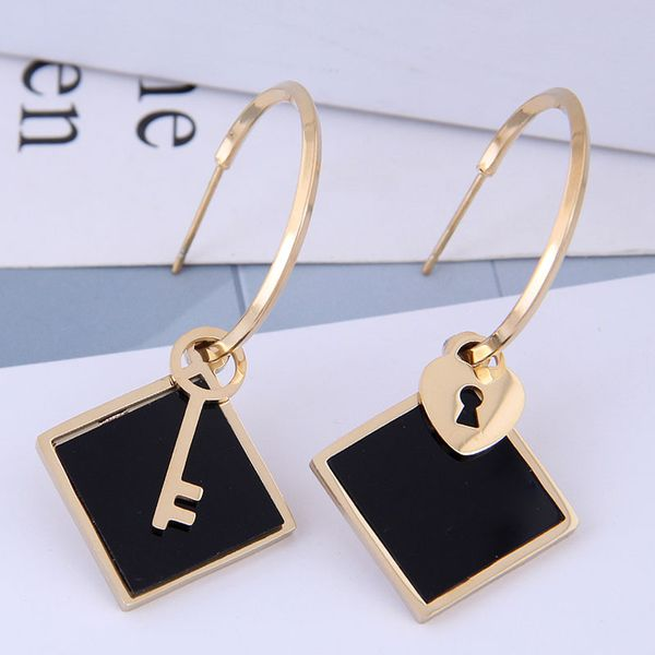 Exquisite fashion titanium steel earrings simple and simple couple key earrings NHSC194584