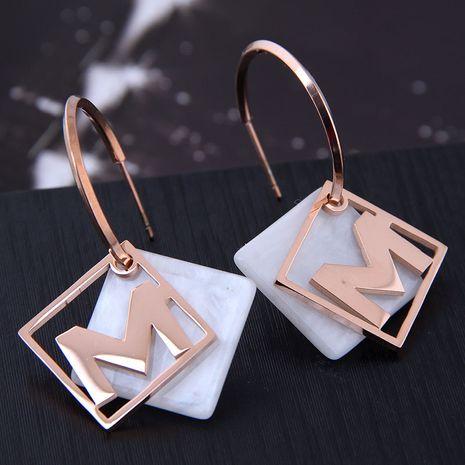 Exquisitos aretes de acero de titanio de moda NHSC194582's discount tags