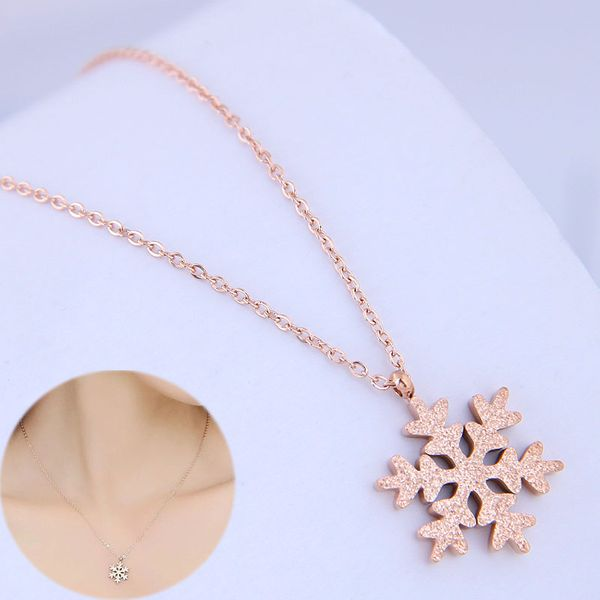 Exquisite Korean fashion titanium steel necklace simple snowflake necklace NHSC194578