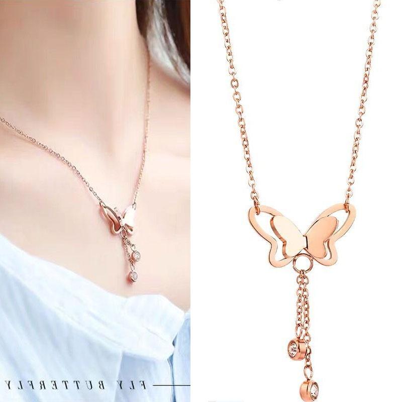 Exquisite Korean fashion titanium steel temperament necklace simple butterfly tassel necklace NHSC194572