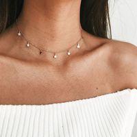 Collar femenino simple estrella de cinco puntas de moda NHSC194568