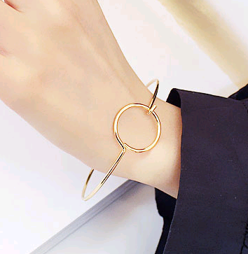 Fashion Simple Hollow Round Simple Open Bangle NHSC194565