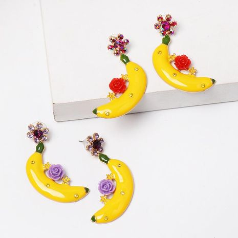 Banana flower earrings diamond stud earrings women's earrings wholesale NHJJ194129's discount tags