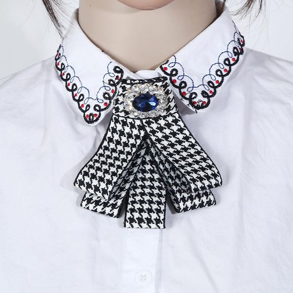 Personalized jewelry elegant lady bow tie delicate diamond houndstooth pin necklace NHJJ194131
