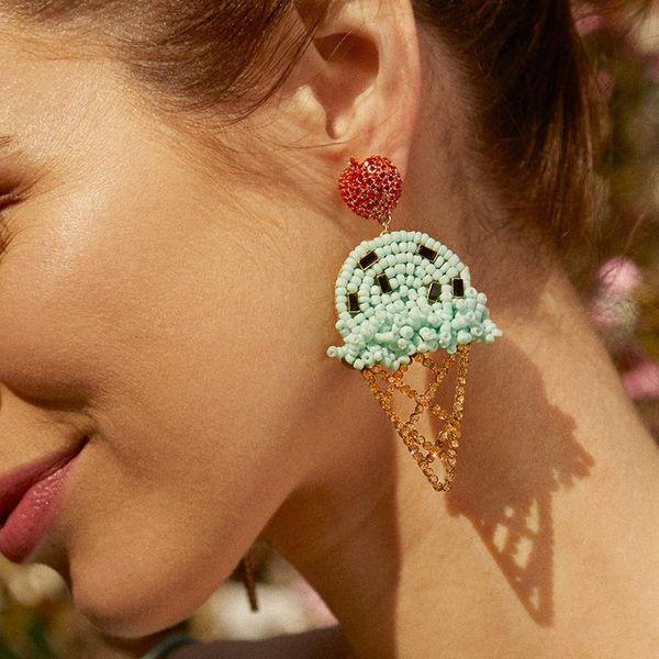 Earrings  simple ice cream earrings fashion ear jewelry 4 colors wholesale NHJJ194132