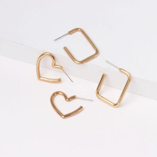 Fashion creative metal love stitching earrings wholesale NHJJ194134