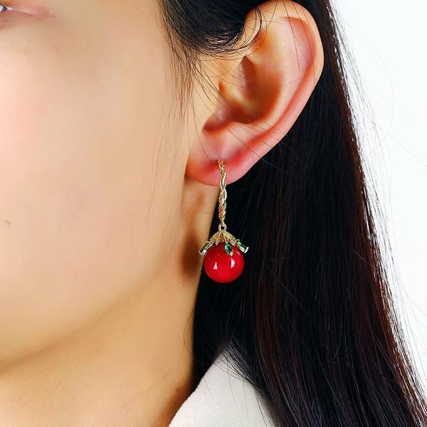 Red earrings festive Chinese style mouse earrings women NHKQ194135
