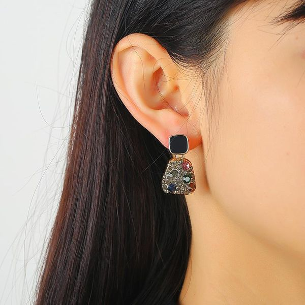 Exaggerated personality full diamond pendant earrings NHKQ194136