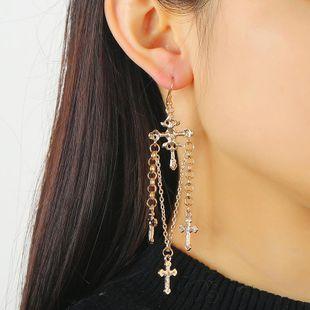 Fashion earrings wholesale handmade hanging ring chain cross ear hook ear jewelry NHKQ194142's discount tags