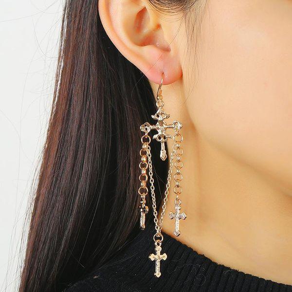 Fashion earrings wholesale handmade hanging ring chain cross ear hook ear jewelry NHKQ194142